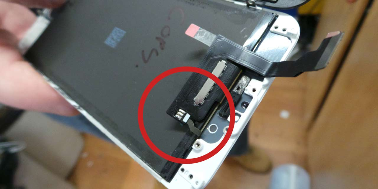 Apple Iphone And Ipad Backlight Dim Screen Repair Disc Depot Dundee 6 Cable Schematic A Copy Seen With Exposed Contact Points That Could Cause Short Out If Not Covered Up Before Installation